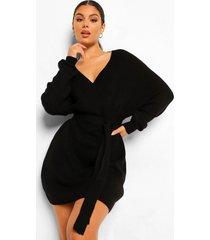 geribbelde gebreide mini jurk met vleermuismouwen, black