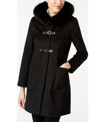 forecaster fox-fur-trim buckled walker coat