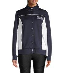 karl lagerfeld paris women's colorblock funnelneck jacket - white black - size m