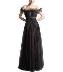 basix black label off-the-shoulder polka dot tulle gown