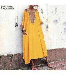 zanzea bohemia de las mujeres floral vestido de long beach de vacaciones maxi vestidos más el tamaño de kaftan -amarillo