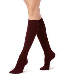 calzedonia tall satin cotton socks woman burgundy size tu