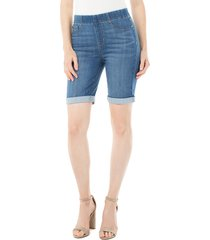 women's liverpool chloe pull-on bermuda shorts, size 10 - blue
