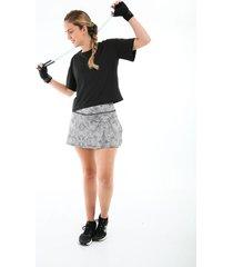 falda deportiva estampada negra con ciclista interno