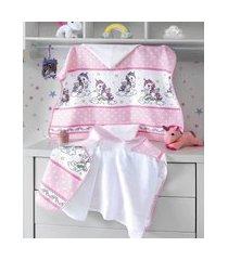 toalha de banho infantil döhler estampada de poá com unicórnios e capuz rosa