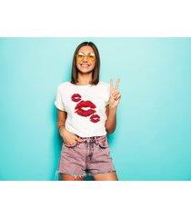 koszulka damska oversize czerwone usta