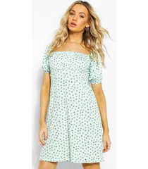 ditsy floral square neck puff sleeve skater dress, mint