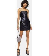 holographic bodycon mini dress - black