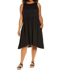plus size women's caslon sleeveless drop waist dress, size 2x - black
