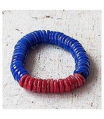 recycled plastic beaded stretch bracelet, 'adepa' (ghana)