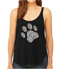 la pop art women's premium word art flowy tank top- dog paw