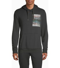 calvin klein men's graphic drawstring long sleeve hoodie