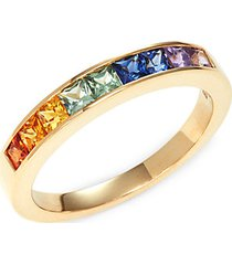 14k yellow gold & multicolor sapphire band ring