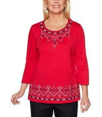 alfred dunner petite diamond embroidered well red top