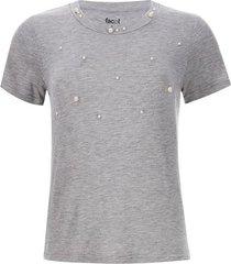 camiseta mujer a rayas con perlas color gris, talla 10