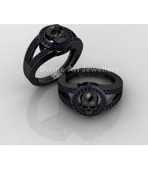 blue cz wedding ring witchy vapor skull gothic engagement ring geeky bridal ring