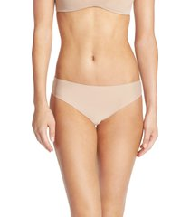 women's honeydew intimates skinz hipster thong, size small - beige