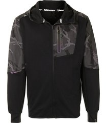 aape by *a bathing ape® camouflage-panel zip-up jacket - black