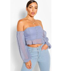 dobby chiffon off the shoulder top, blue