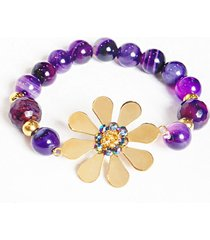 pulsera mujer en acero con piedras naturales amme - violeta y dorado
