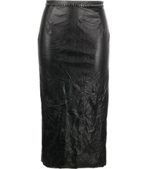 nº21 crystal-embellished eco-leather pencil skirt - black