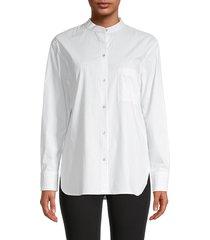 vince women's stripe band-collar shirt - white - size xs
