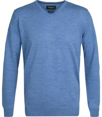 profuomo merino pullover blauw v-hals