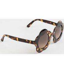penelope floral shaped sunglasses - tortoise