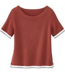 sportief gebreid shirt van biologisch katoen, kastanje 34