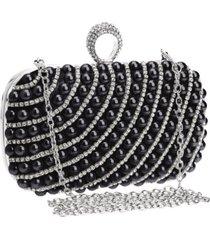 bolsa clutch liage bordada pedra pérola cristal pedraria strass brilho metal prata e preta - kanui