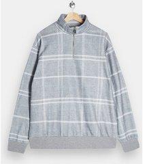 mens grey gray windowpane check 1/4 zip sweatshirt