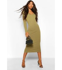 tall basic cotton v-neck midi dress, olive