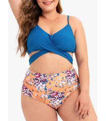 floral ruched knot plus size bikini swimsuit