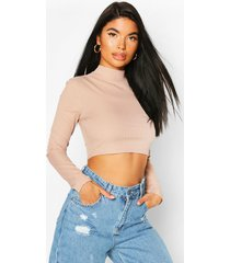 petite high neck ribbed crop top, sand