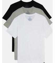 tommy hilfiger men's cotton classics v-neck undershirt 3pk black/grey heather/white - l
