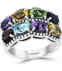 effy multi-gemstone oval double row statement ring (4-1/2 ct. t.w.) in sterling silver