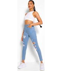 super versleten stretch skinny jeans met hoge taille, lichtblauw