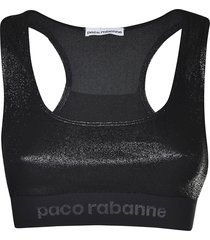 paco rabanne logo print cropped top