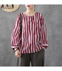 zanzea mujer de manga larga de cuello redondo tela escocesa comprobar tapas de la camisa de gran tamaño retro de la blusa -rojo