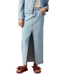 women's scotch & soda nonstretch long organic cotton denim pencil skirt, size small - blue
