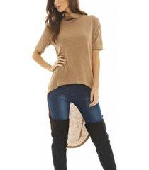 ax paris women's short sleeve dipped back sweater