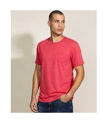camiseta masculina básica com bolso manga curta gola careca vermelha