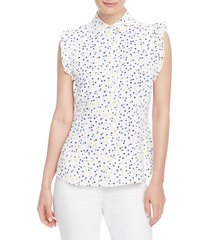 anne klein ritz dot ruffle top, size 4 in white/mondrian yellow combo at nordstrom
