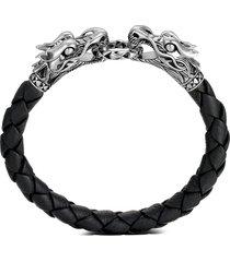 'legends naga' sterling silver leather bracelet
