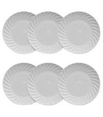 conjunto 6 pratos rasos porcelana tangram germer 28cm branco