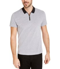 alfani men's micro jacquard zipper polo shirt, created for macy's