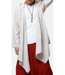 cardigan in cotone tinta unita a maniche lunghe da uomo in stile cinese con cappuccio