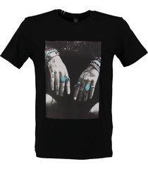replay zwart slim fit t-shirt met photoprint