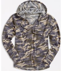maurices womens camo waffle knit hoodie green