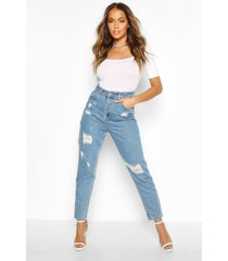 sophie high waisted distressed mom jeans, mid blue